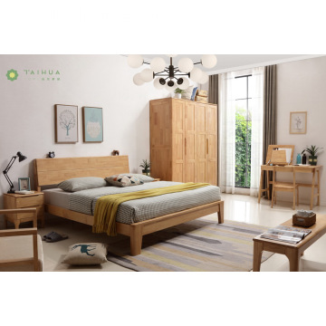 Light Brown Solid Rubber Wood Bedroom with Wardrobe